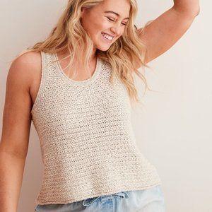 Aerie Open Knit Chunky Sweater Tank Tan / Cream